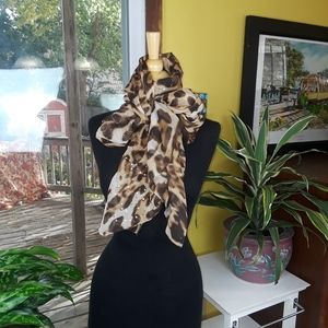 Animal print Large brown Sequin tan scarf